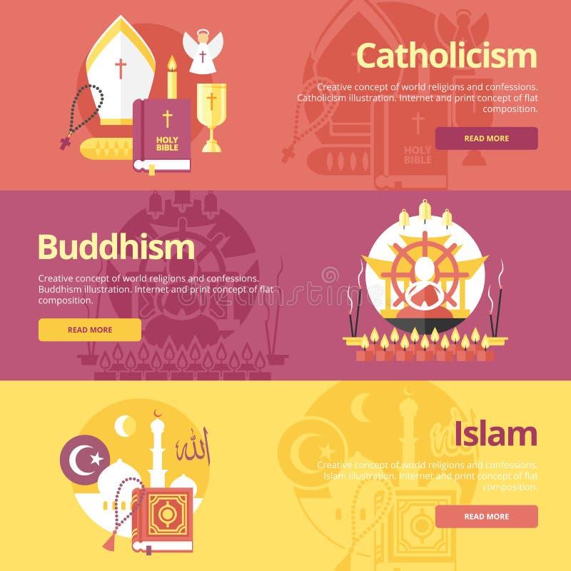 Plana designbanerbegrepp för islam, buddhism, katolicism Religionbegrepp för rengöringsdukbaner stock illustrationer