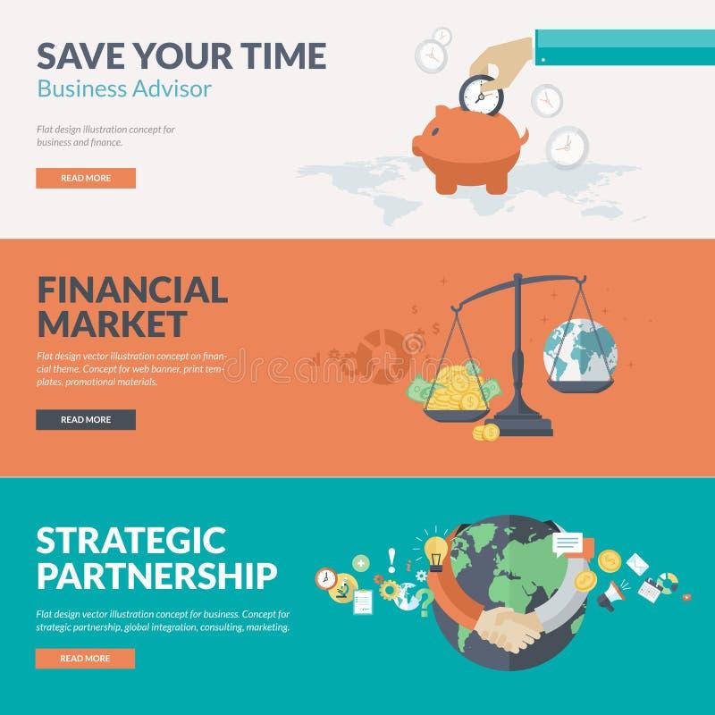 Plana designbegrepp för affär och finans royaltyfri illustrationer