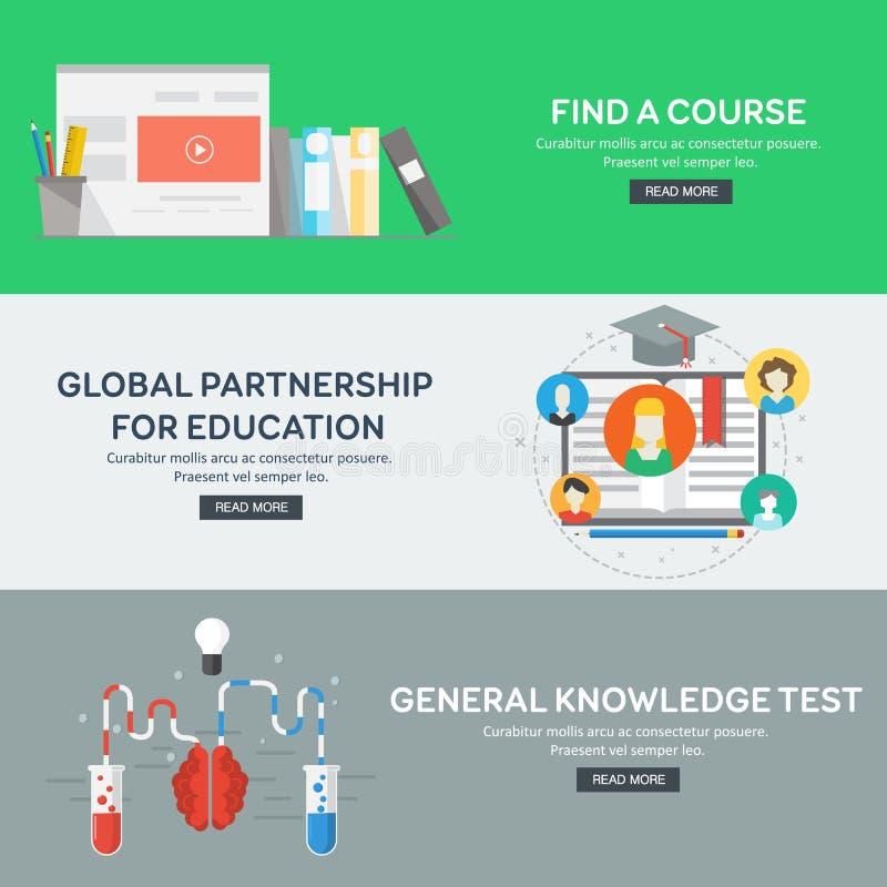 Plana designbegrepp för allmänbildning, globalt partnerskap, finner en kurs stock illustrationer