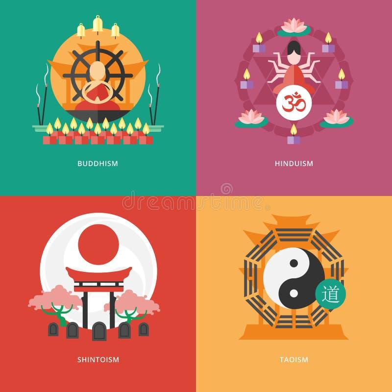 Plana designbegrepp för buddhism, hinduism, shintoism, taoism royaltyfri illustrationer