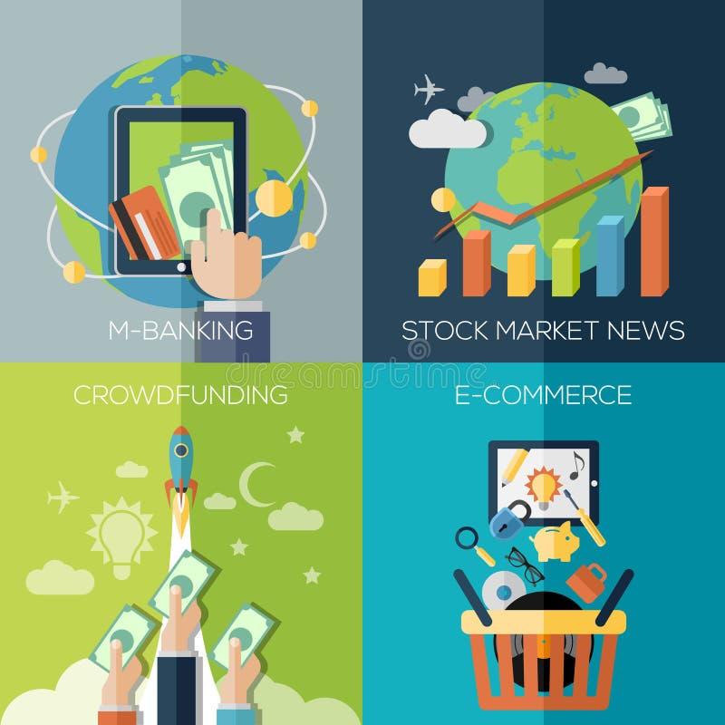 Plana designbegrepp för finans, ekonomi royaltyfri illustrationer