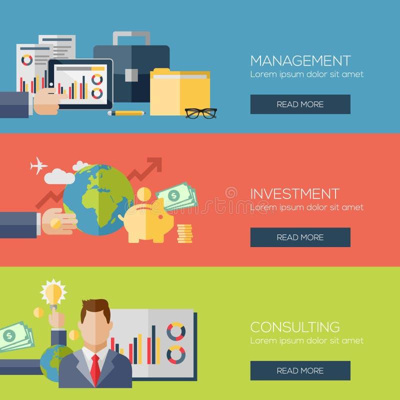 Plana designbegrepp för ledning, investering royaltyfri illustrationer