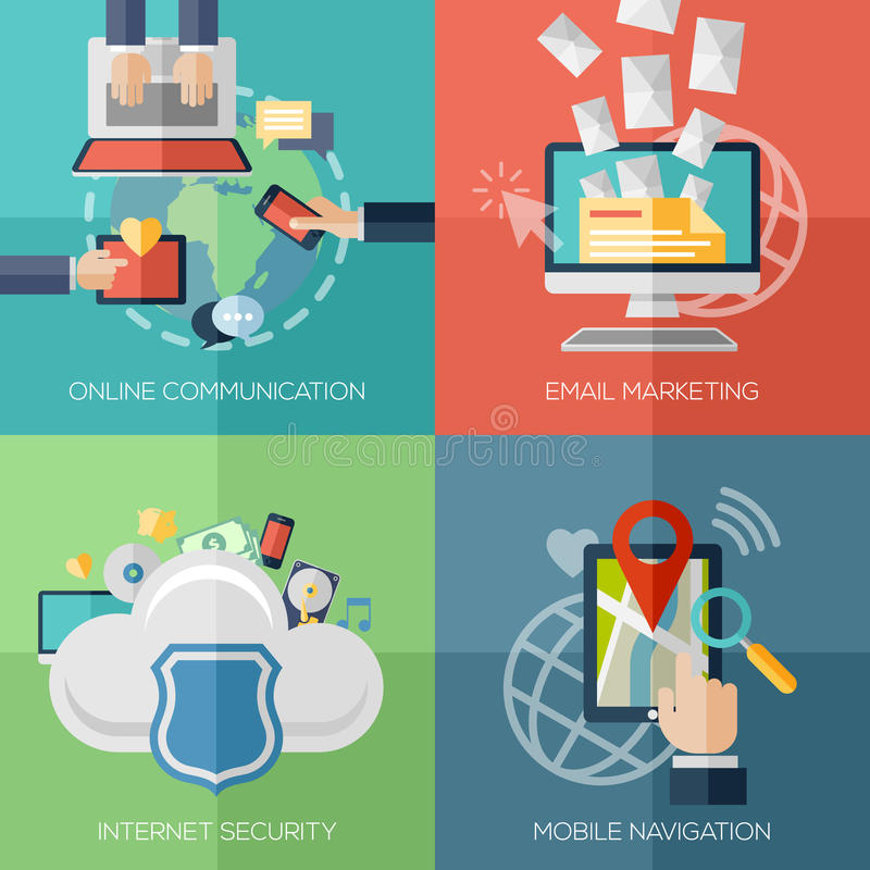 Plana designbegrepp för online-kommunikation royaltyfri illustrationer