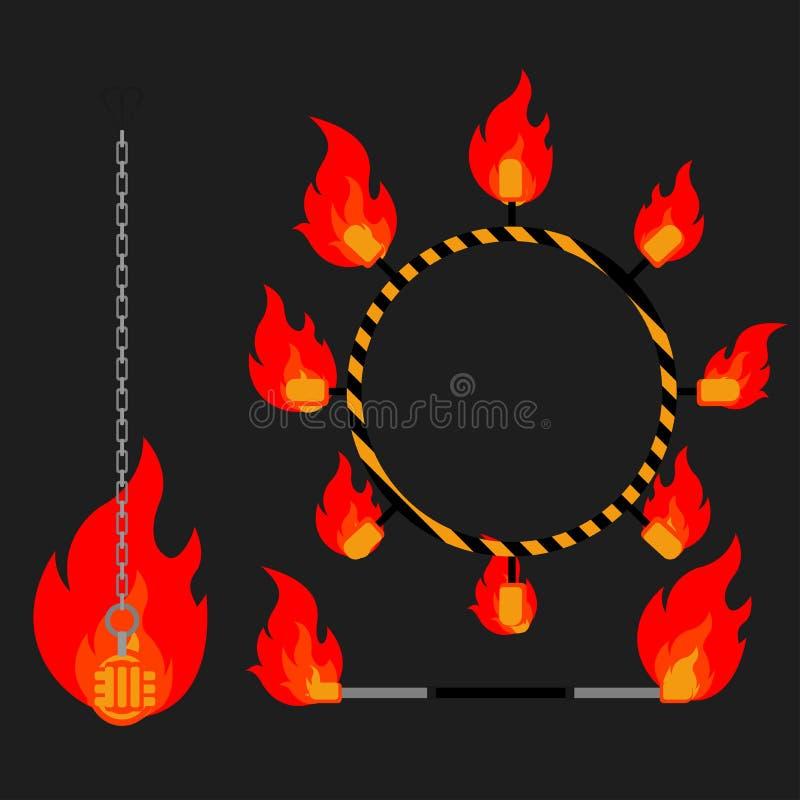 Plana designbeståndsdelar av brandshowen Ställ in med tillbehör och utrustning Flammacirkusinstrument apparater ventilatorer stock illustrationer