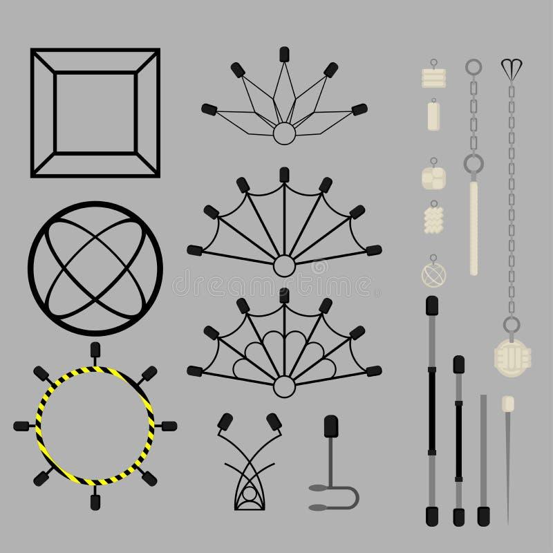 Plana designbeståndsdelar av brandshowen Ställ in med tillbehör och utrustning Flammacirkusinstrument apparater ventilatorer royaltyfri illustrationer