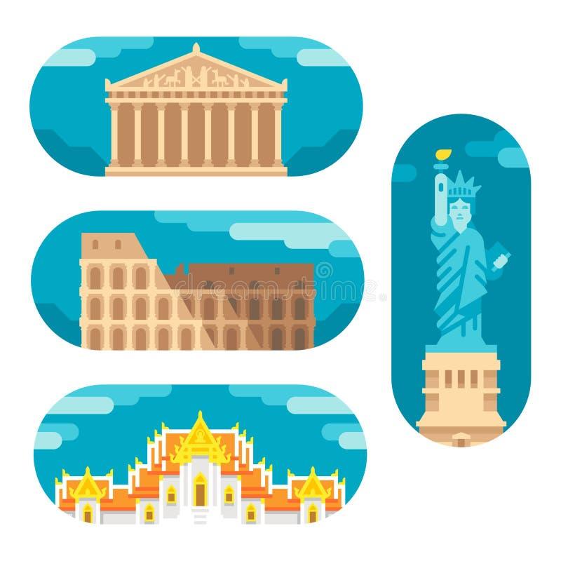 Plana designgränsmärken royaltyfri bild
