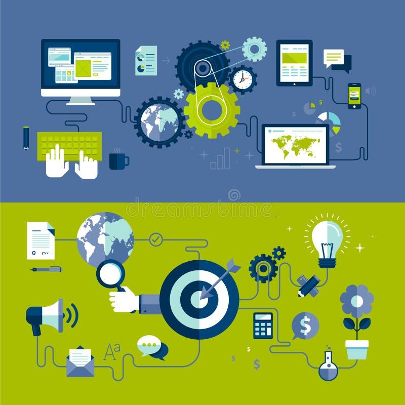 Plana designillustrationbegrepp av den svars- rengöringsdukdesignen och processen för internetadvertizingarbete
