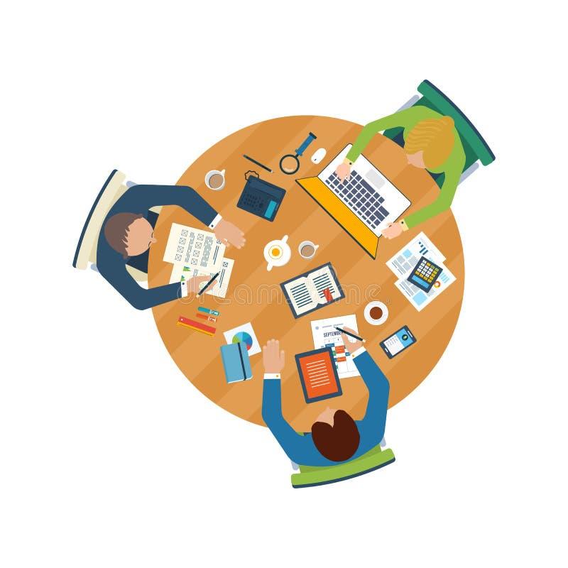 Plana designillustrationbegrepp för affärsanalys på möte, lagarbete, finansiell rapport, projektledning och developmen royaltyfri illustrationer