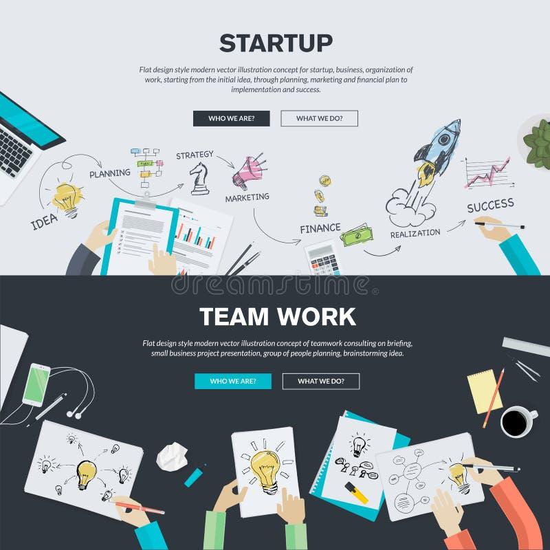 Plana designillustrationbegrepp för affärsstart och lag arbetar vektor illustrationer