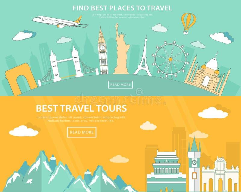 Plana designillustrationbegrepp för att resa och turism rengöringsdukbaner med uppsättningen av världsgränsmärken och ställen som royaltyfri illustrationer