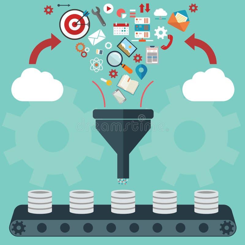 Plana designillustrationbegrepp för idérik process, stora data filtrerar, data gräver, analysbegreppet