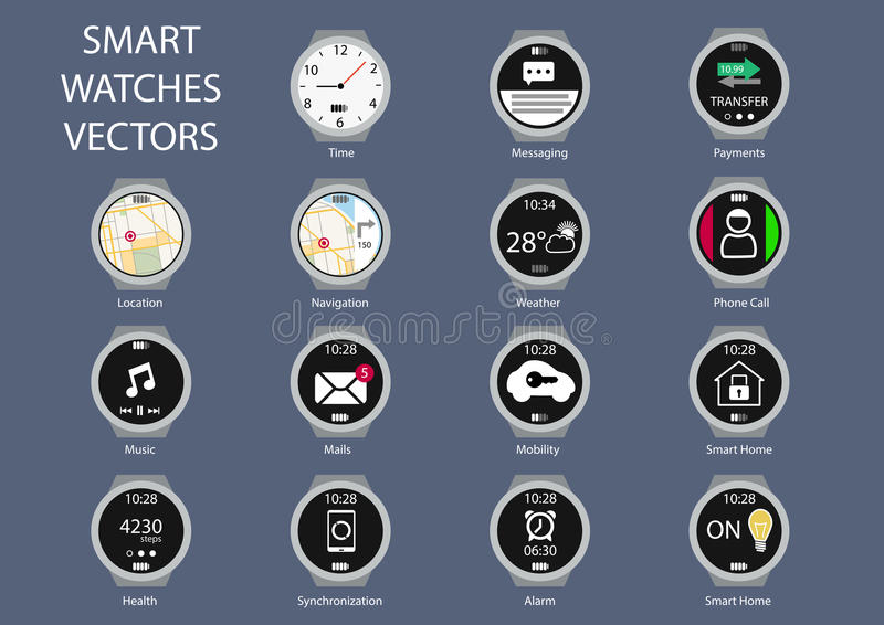 Plana designillustrationsymboler av smarta klockaklockaframsidor royaltyfri illustrationer