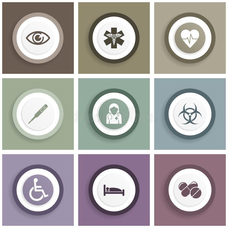 Plana designmedicin, hälsa och sjukhussymboler Ställ in av medicinskt tecken och symboler stock illustrationer
