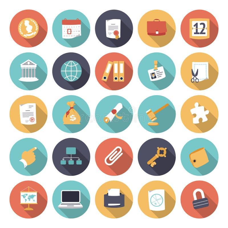 Plana designsymboler för affär och finans stock illustrationer