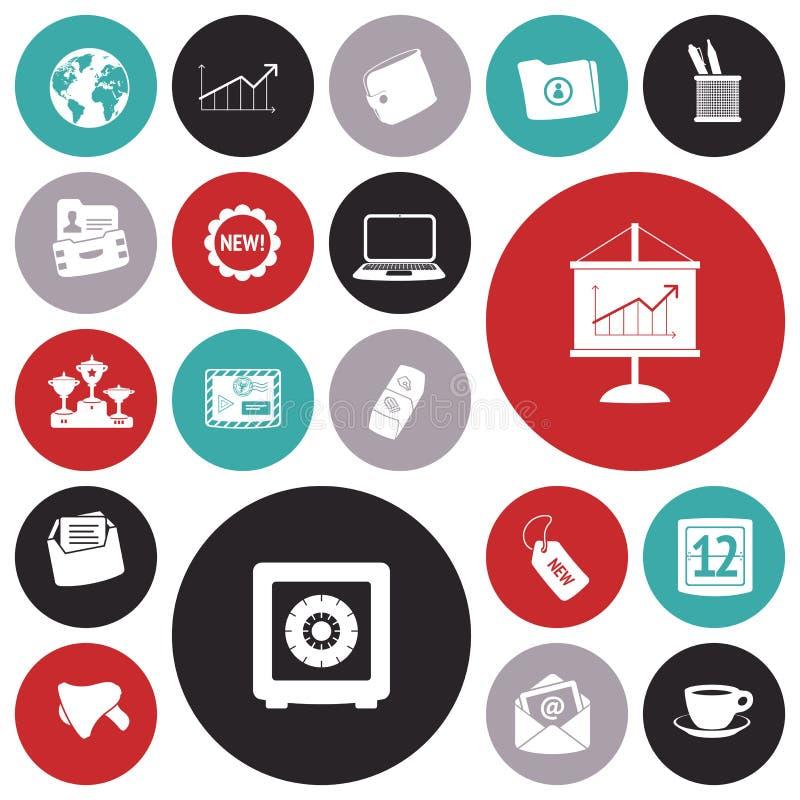 Plana designsymboler för affär och finans royaltyfri illustrationer