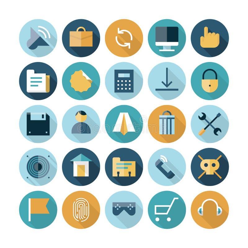Plana designsymboler för användargränssnitt royaltyfri illustrationer