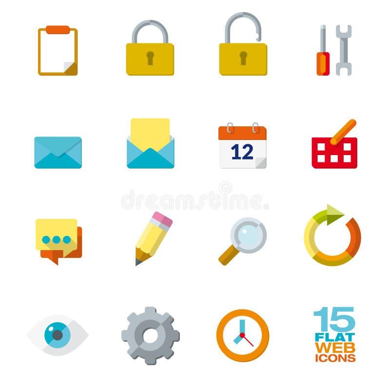 Plana designsymboler för rengöringsduk- och mobilapplikationer royaltyfri illustrationer