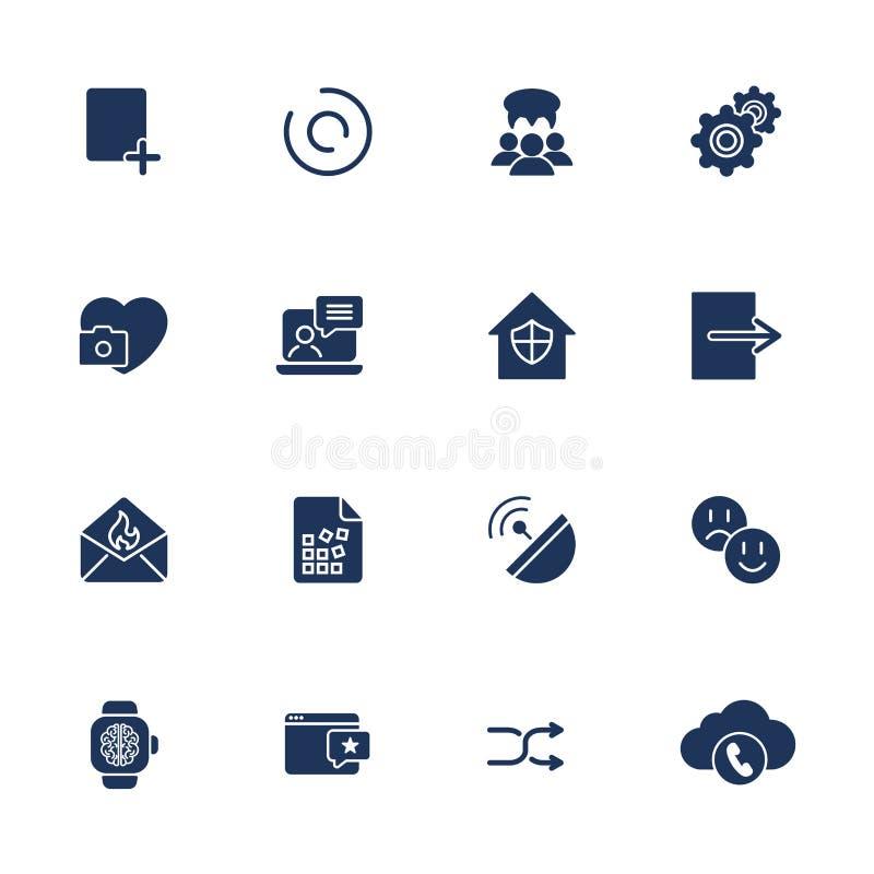Plana designsymboler ställde in modernt begrepp för stilvektorillustration av rengöringsdukutvecklingsservice, social massmediama vektor illustrationer
