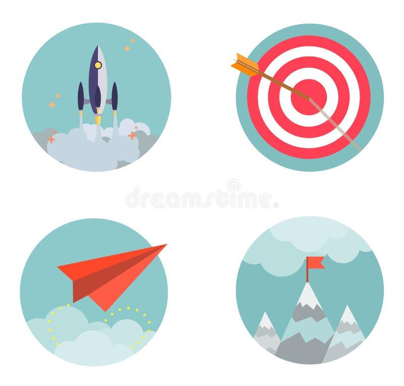 Plana designuppsättningsymboler startar upp affärsdevelopmen stock illustrationer