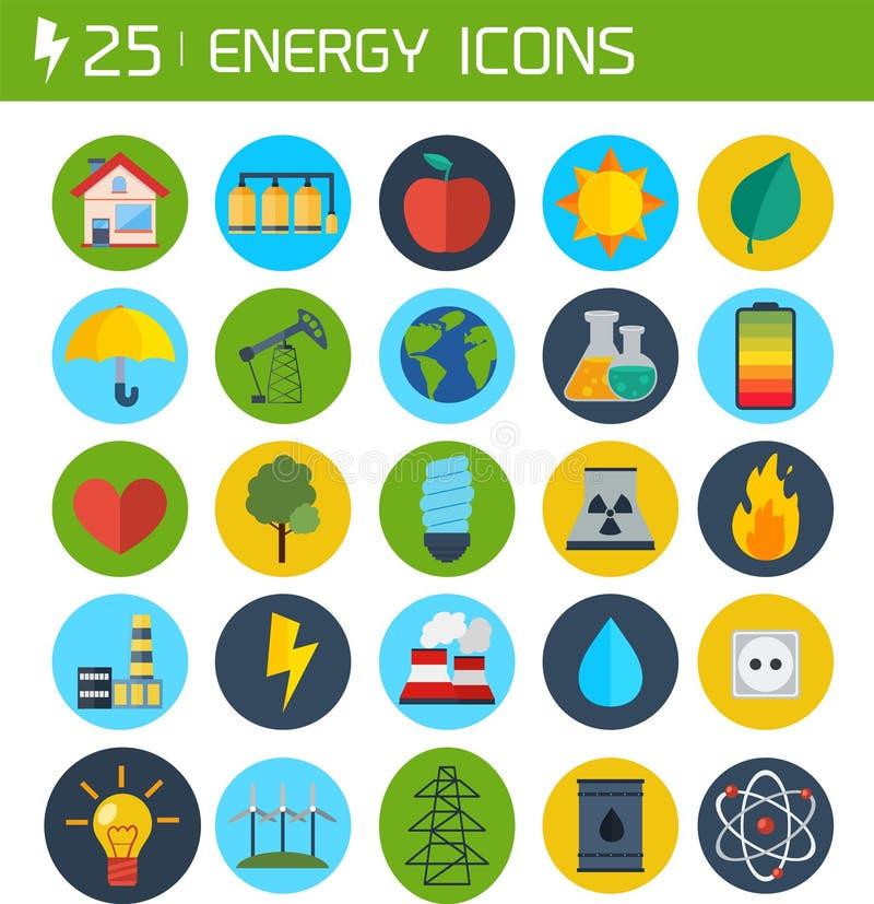 Plana energivektorsymboler arkivfoto