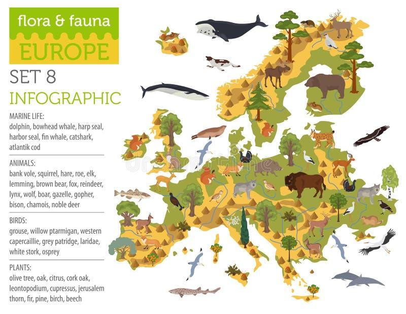 Plana europeiska flora och faunor kartlägger konstruktörbeståndsdelar Djur, royaltyfri illustrationer