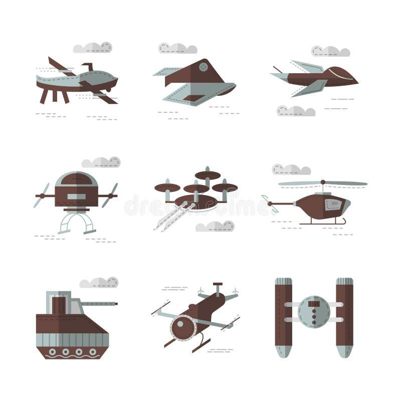 Plana färgsymboler för militära robotar royaltyfri illustrationer