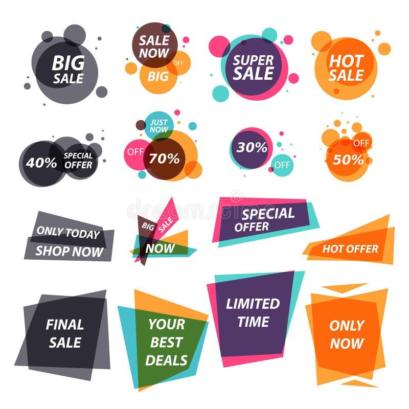 Plana försäljningsklistermärkear royaltyfria foton