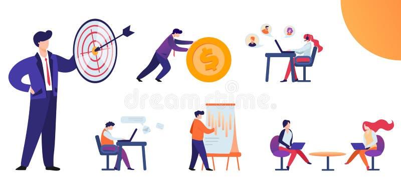 Plana fastställda vägar och metoder att uppnå målet stock illustrationer