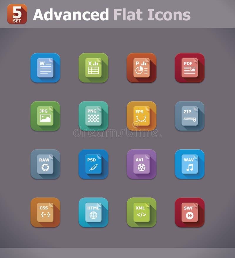Plana filtypsymboler för vektor royaltyfri illustrationer