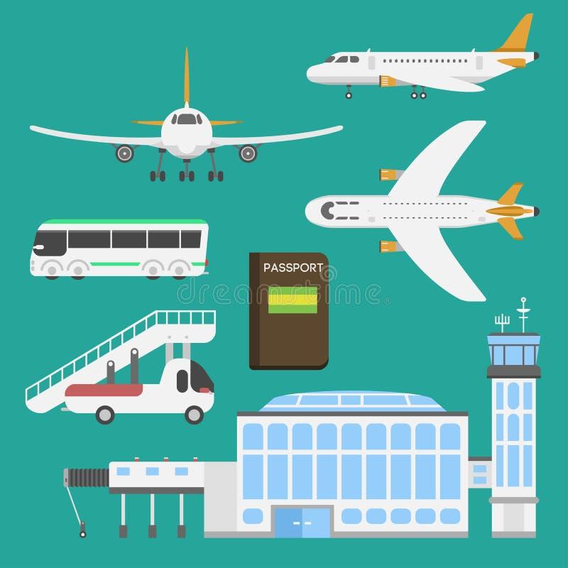 Plana flygplatstransportsymboler sänker nivån för bagage för avvikelsen för symboler för port för luft för begreppet för designil stock illustrationer