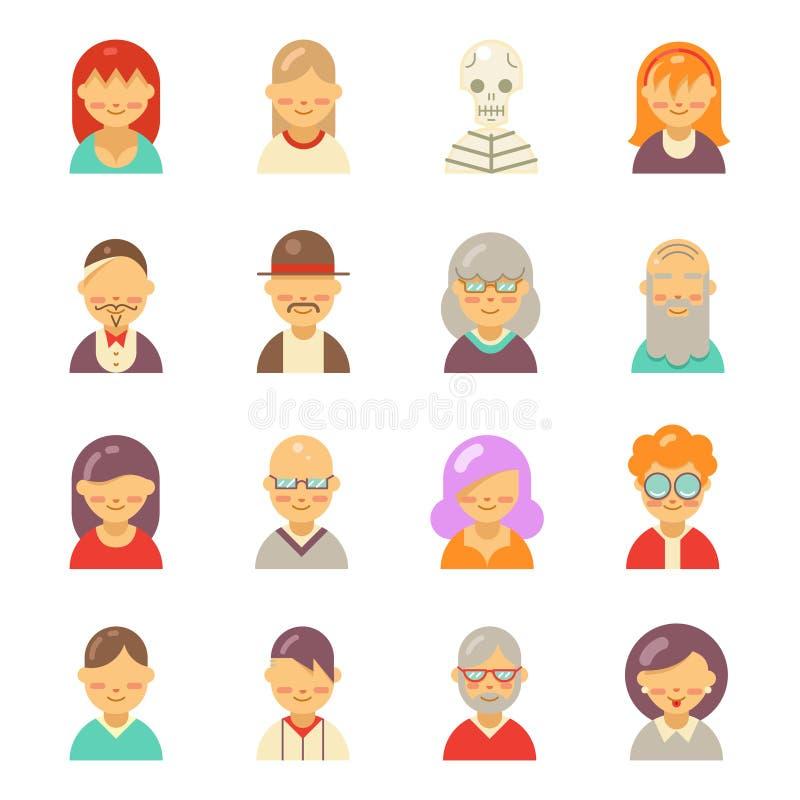 Plana folksymboler för app-användareavatar vänder mot Man- och kvinnavektor royaltyfri illustrationer