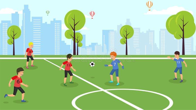 Plana fotbollsmatchskolbarns för vektor lag royaltyfri illustrationer