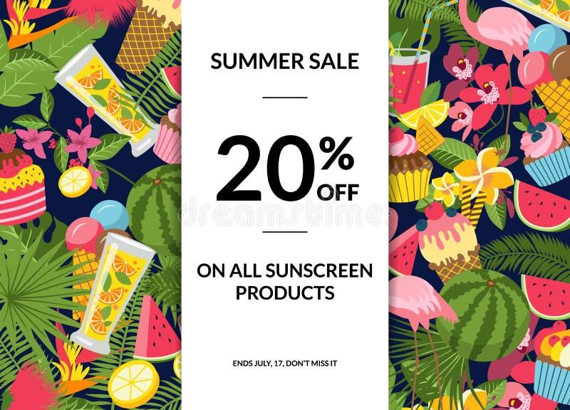 Plana gulliga sommarbeståndsdelar för vektor, coctailar, flamingo, palmbladförsäljningsaffisch med stället för textillustration stock illustrationer