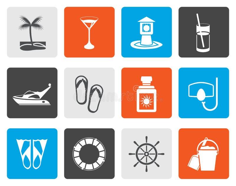 Plana hav, flotta och feriesymboler vektor illustrationer