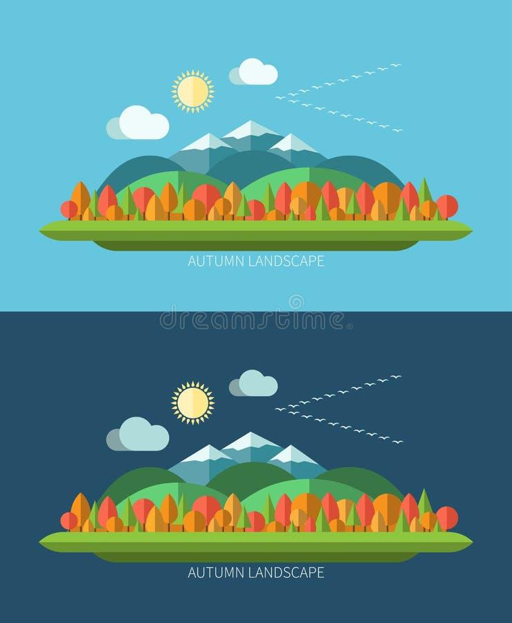 Plana illustrationer för landskap för designhöstnatur stock illustrationer