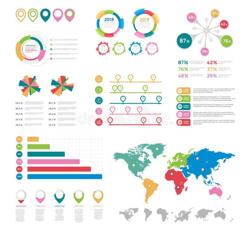 Plana infographic beståndsdelar Uppsättning för vektor för presentationsdiagrambeståndsdelar royaltyfri illustrationer