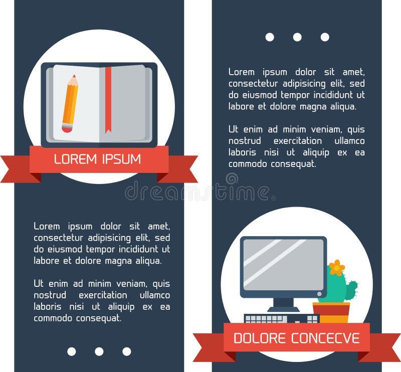 Plana infographic utbildningsbaner. royaltyfri illustrationer