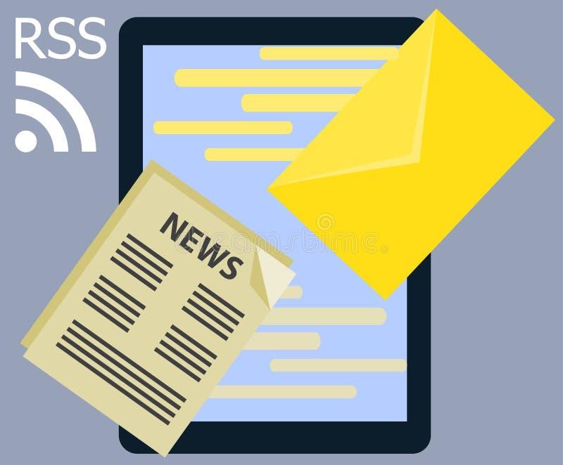 Plana inter-rss och meddelande för nyheterna för information om design royaltyfri illustrationer