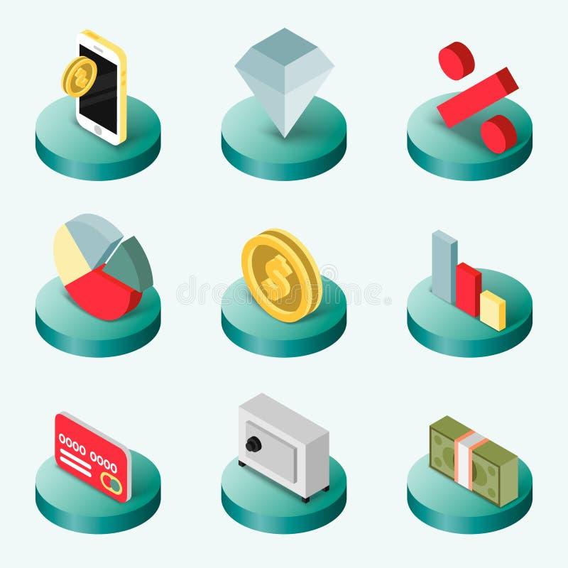 Plana isometriska symboler för finans stock illustrationer
