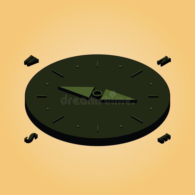 Plana isometriska symboler ställde in den isometriska symbolen för 9 kompass royaltyfri illustrationer
