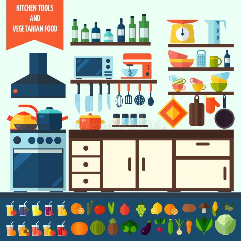 Plana kök- och vegetarianmatlagningsymboler fotografering för bildbyråer