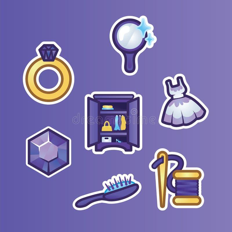 Plana klistermärkear för uppsättning guld- cirkel, diamant, spegel, klänning, garderob, hårborste och tråd med en visare Kvinnlig vektor illustrationer