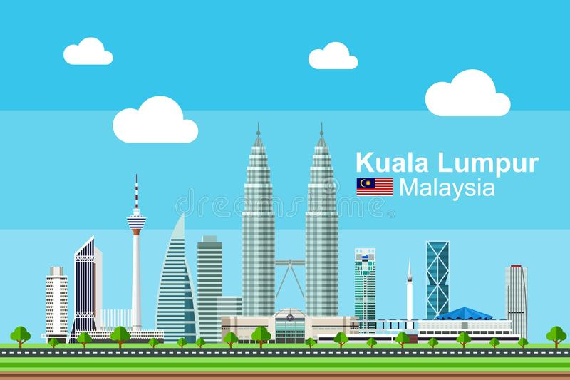 Plana Kuala Lumpur Cityscape royaltyfri illustrationer