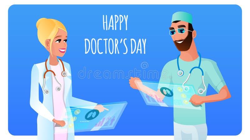 Plana le doktor Man och kvinna för illustration två vektor illustrationer