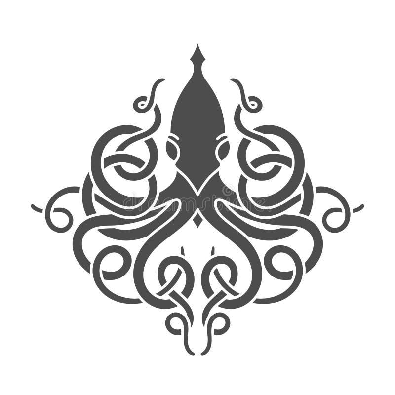 Plana linjära kraken illustrationen stock illustrationer