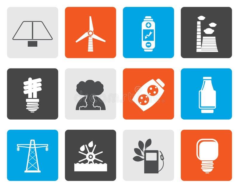 Plana makt-, energi- och elektricitetssymboler royaltyfri illustrationer