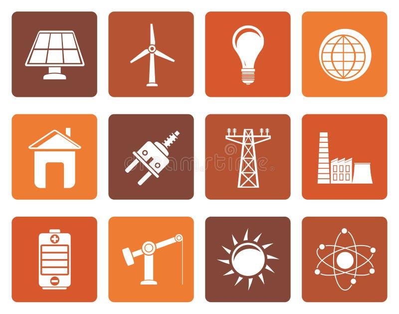 Plana makt-, energi- och elektricitetssymboler vektor illustrationer