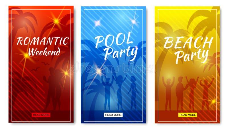 Plana mallar för mobila berättelser för sommarsemester royaltyfri illustrationer