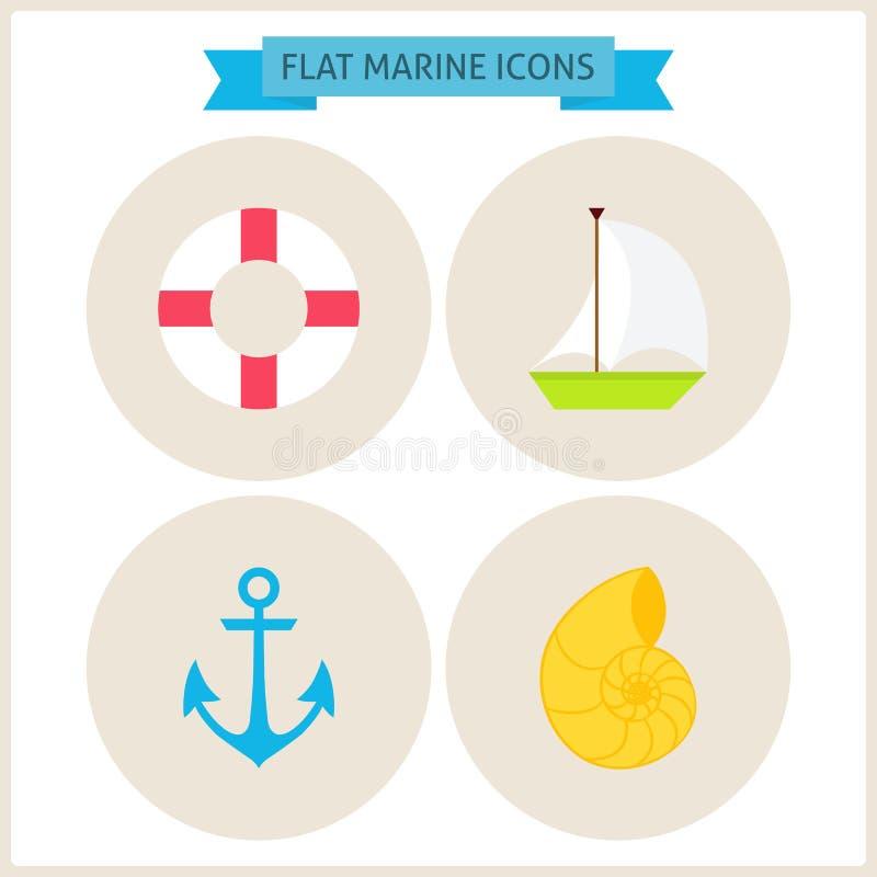 Plana Marine Website Icons Set vektor illustrationer