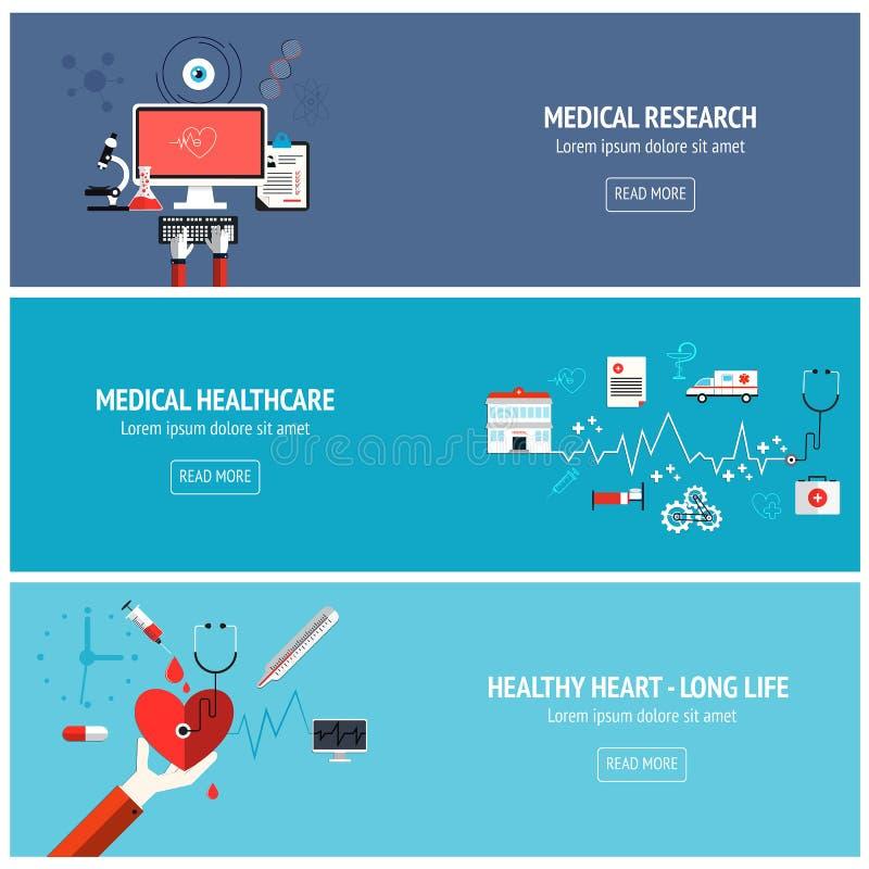 Plana medicinska baner royaltyfri illustrationer